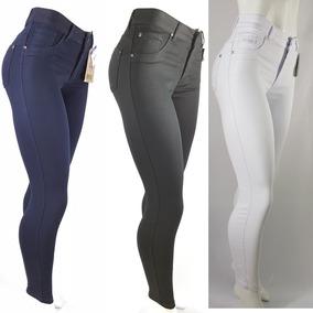 4dd997dbbc614f Calça Bivik Jeans Feminina Branca Preta Azul Lycra Cos Alto