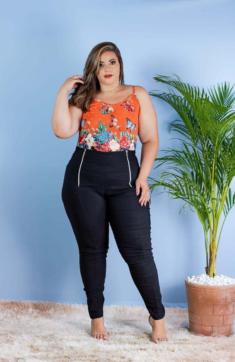 5484b8c73a Conjunto Plus Size Calça + Blusa Alça Gg Moda Gordinhas - R$ 139,00 ...
