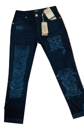 calca boyfriend jeans despojado rasgada sarja feminina preto