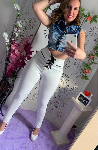calça branca e preta cirre tamanho m foto real cavalo alto