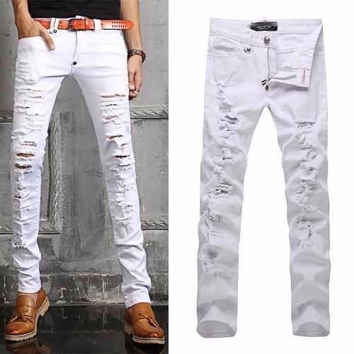 calça branca rasgada jeans sarja skinny slim masculina mod8