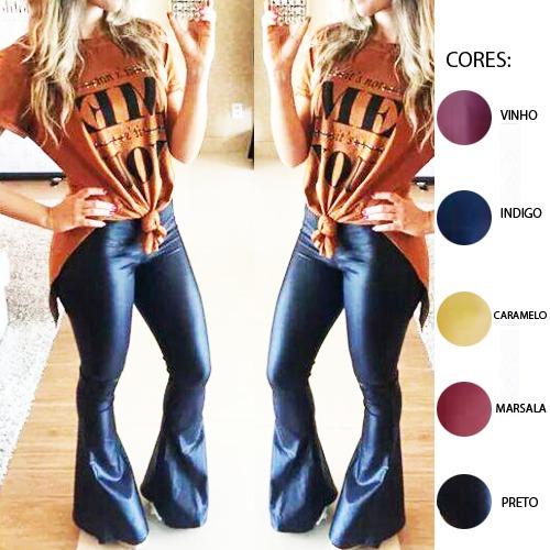 calça calca flare feminina não jeans em cirre cintura alta
