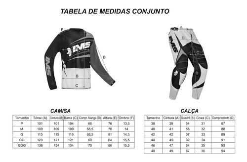 calça camisa off road ims mx equipamento motocross bike