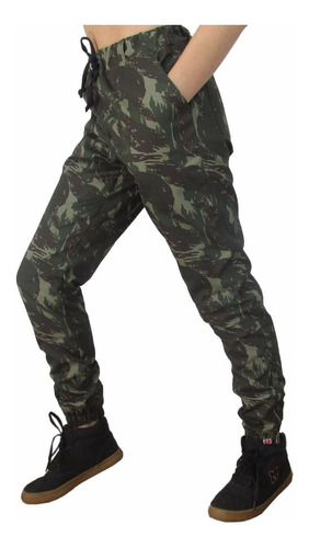 calça camuflada feminina vcstilo - calça jogger feminina