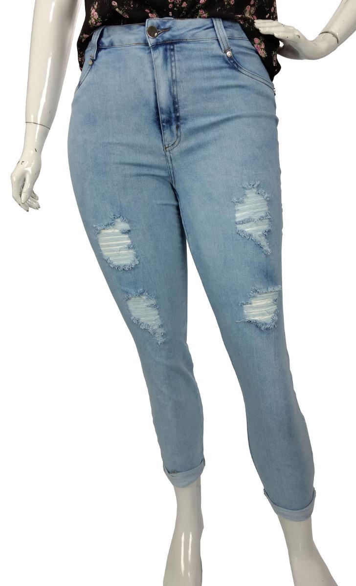6017cb69b calça capri jeans feminina destroyed plus size boyfriend. Carregando zoom.