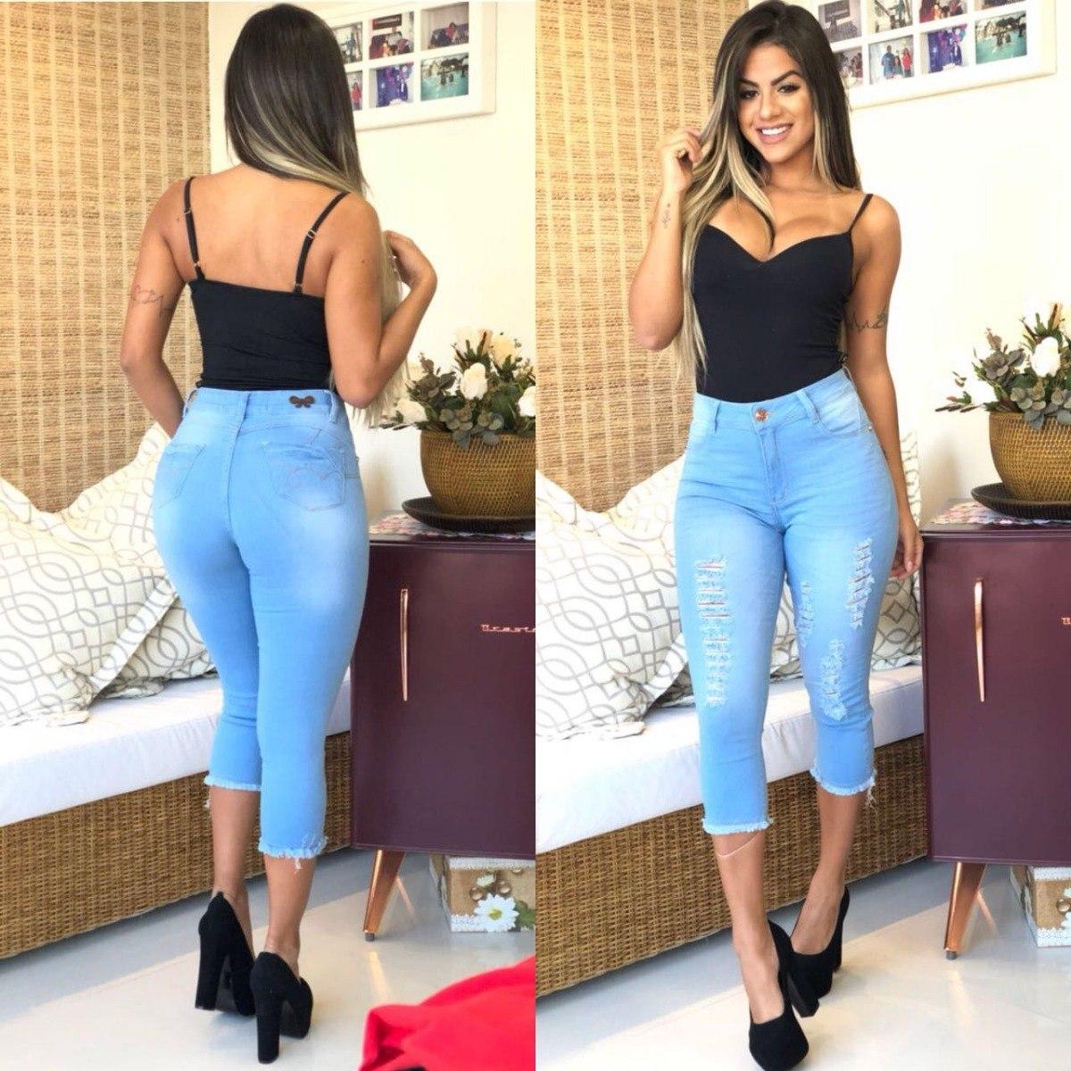 9b601a1f2 calça capri jeans feminina hot pants muito barata c/ lycra. Carregando zoom.