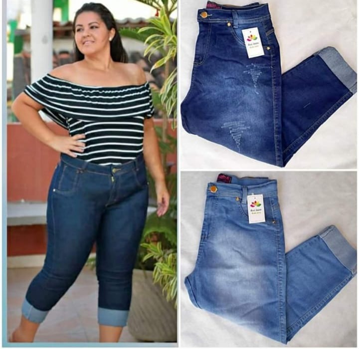 9f341cacb3 Calça Capri Jeans Feminina Plus Size - Cintura Alta - R  92