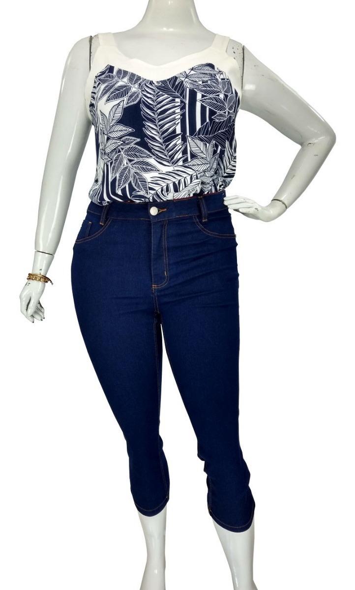 a4162743341a9a Calça Capri Jeans Plus Size Azul Cambos Roupas Femininas Top