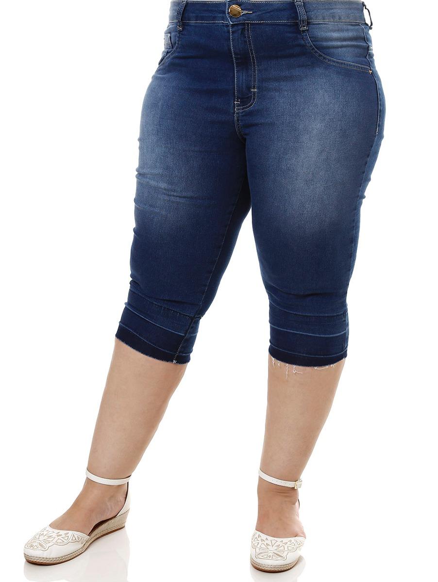 d874ea2224946f Calça Capri Jeans Plus Size Feminina Azul