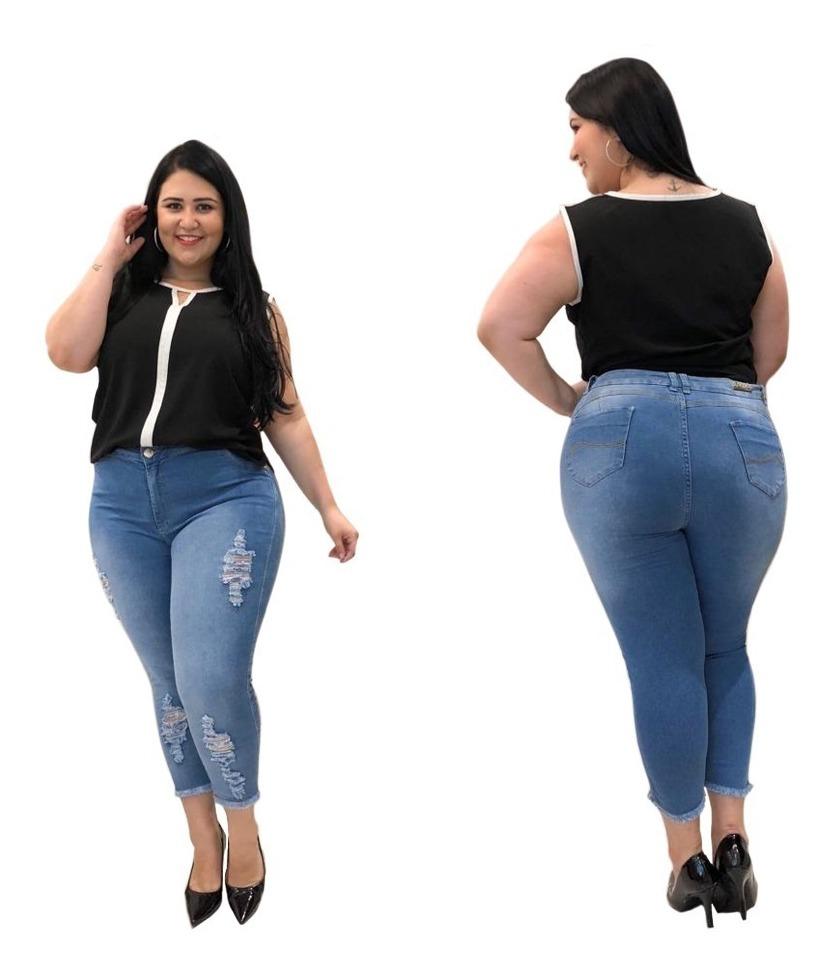 488010887ffcd4 Calça Capri Jeans Plus Size Feminina Rasgada Cintura Alta
