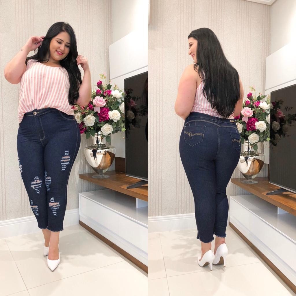 b847567a434 calça capri jeans plus size midi feminina tamanhos grandes. Carregando zoom.