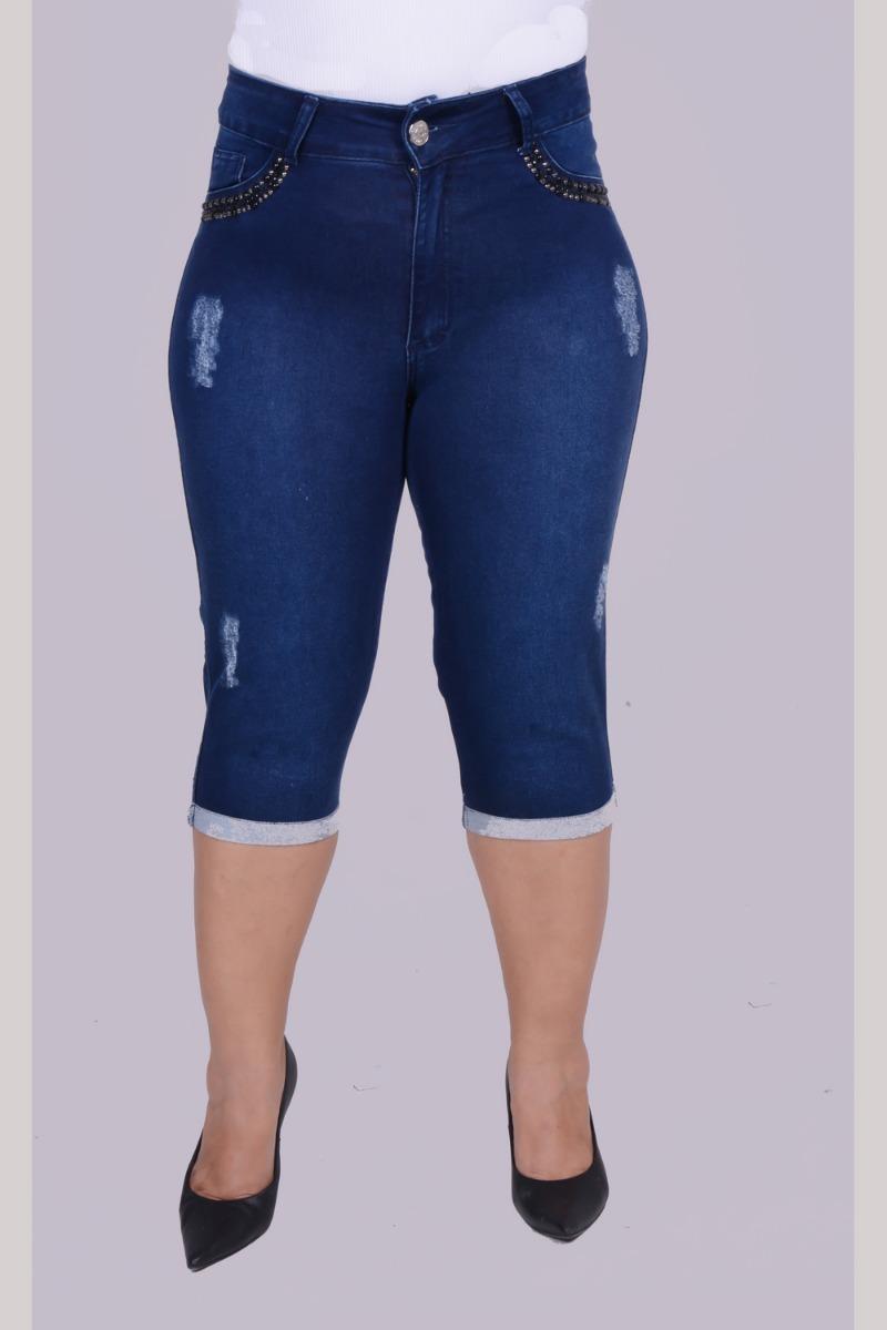 34262c1d065705 Calça Capri Plus Size Curta Jeans Com Lycra Gordinha 52 54