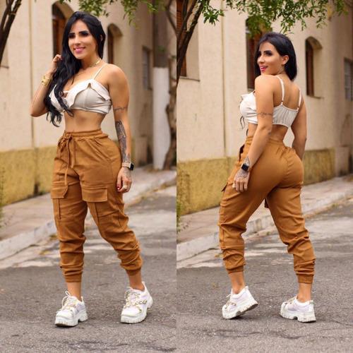 calça cargo jogger bolsos pantacourt laço feminino bengaline