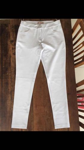 calça carmim branca viscose veste 38