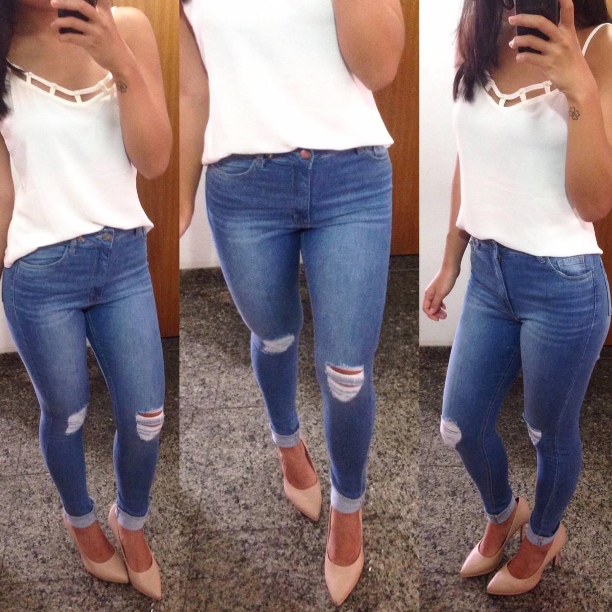 4bdb3a642 calça cintura alta jeans destroyed rasgo joelho lady rock. Carregando zoom.