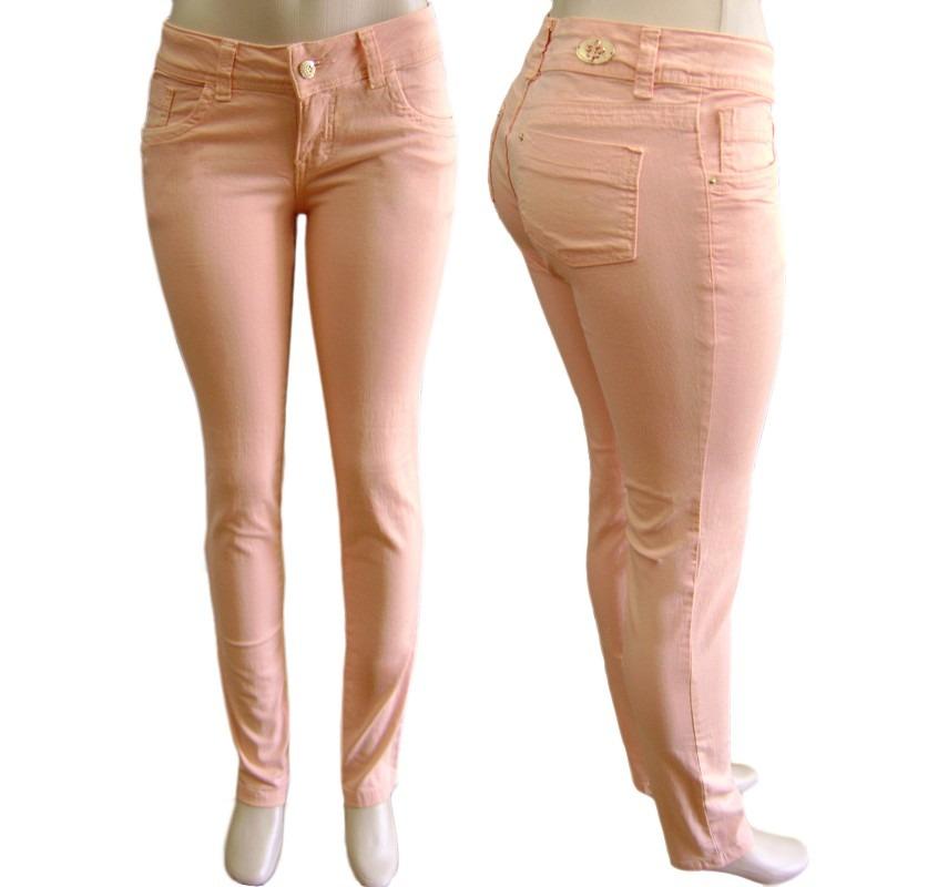 6e279be2db898 calça colorida feminina rosa coral com lycra (elastano). Carregando zoom.