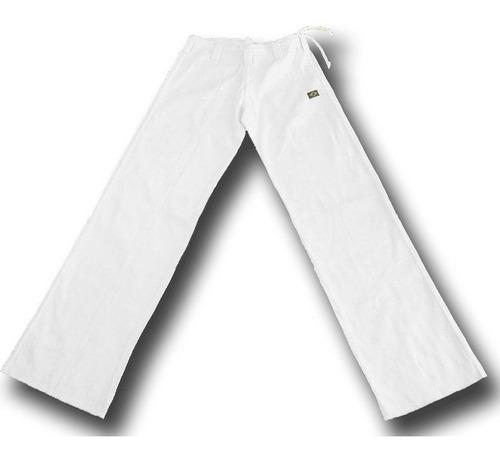 calça de capoeira branca gg (48-50) abada helanca poliamida