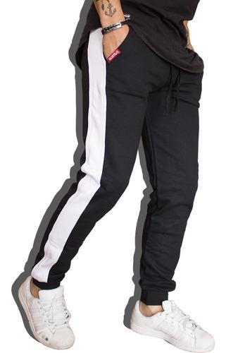calça de moletom masculina calça com listra lateral vcstilo