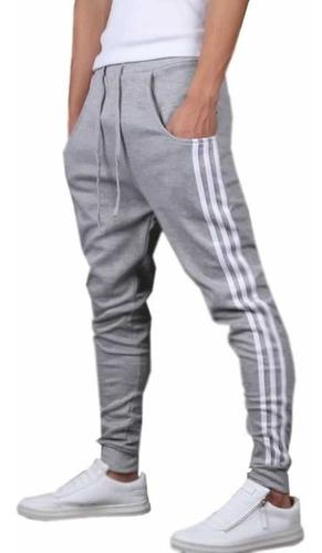 calça de moletom saruel skinny masculina com listra vcstilo