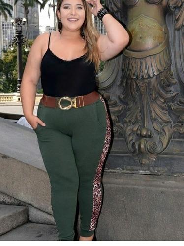 calça de punho feminina plus size gg ao g3 detalhe onça