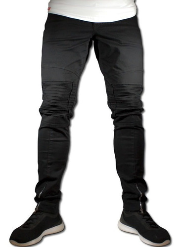 calça destroyed biker masculina jeans sarja rasgada preta