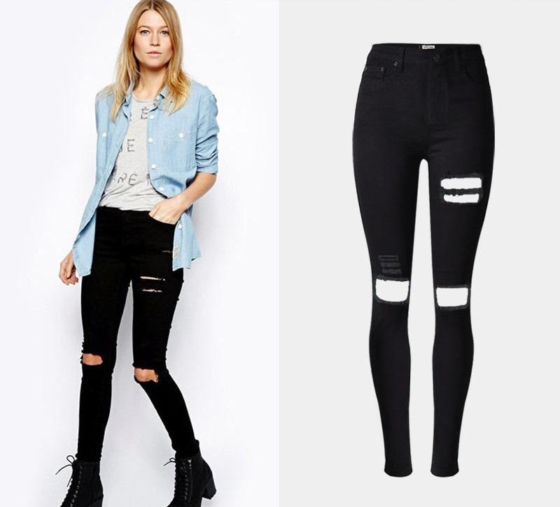 e1379ccfe2 calça-destroyed-feminina-rasgada-jeans-preta-moda-2018. Carregando zoom.