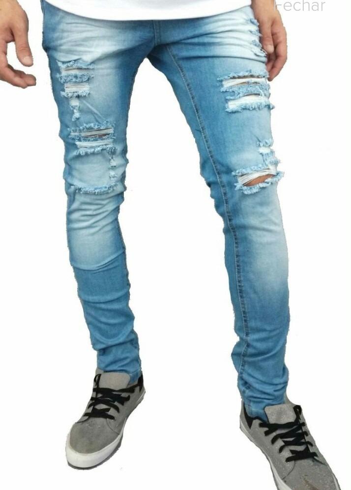 c7a9700637489 calça destroyed jeans rasgada masculina skinny com laycra. Carregando zoom.
