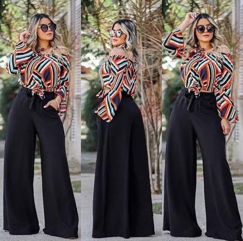 calça elegante festa pantalona flare elastico cintura larga