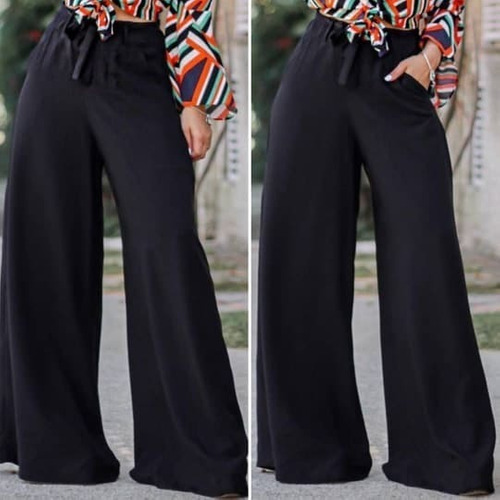 calça elegante pantalona elastico na cintura viscose leveza
