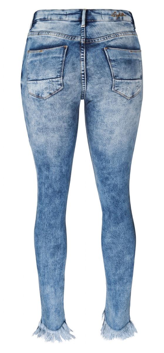 6119b1e42b calça enfim feminina em jeans skinny com barra desfiada e pu. 4 Fotos