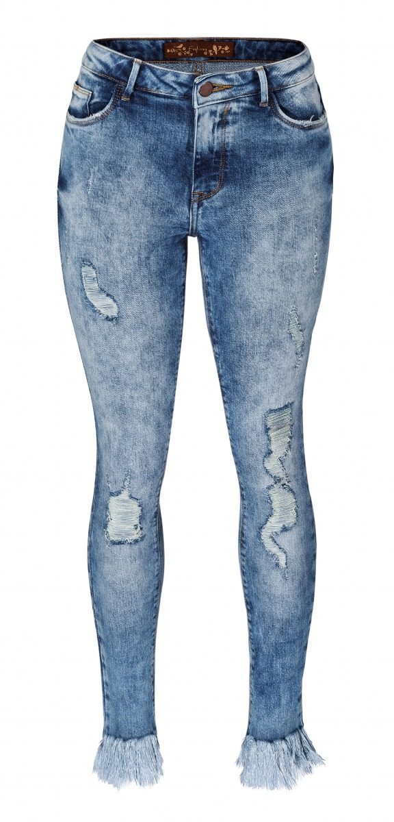 7c9231315 calça enfim feminina em jeans skinny com barra desfiada e pu. 4 Fotos