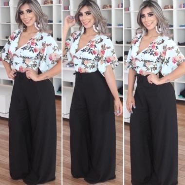 86568e0d3 Calça Envelope Pantalona Lisa Detalhe Laço Fenda Moda Insta - R$ 49 ...