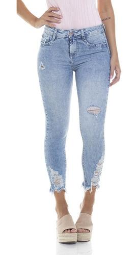 calça  fem skinny cropped média clara denim zero - dz2802