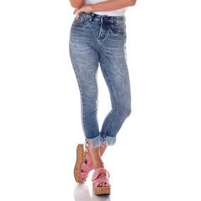 5ce5cac0f Calça Jeans Feminina Cropped Desfiada Boca - Calças no Mercado Livre ...