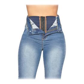 Calça Fem Super Lipo Azul Damarca Sawary Jeans Cinta Barriga