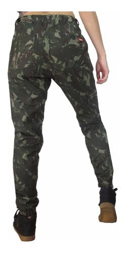 calça feminina camuflada jogger ziper na barra frete grátis