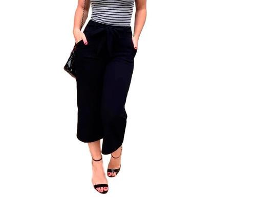 calça feminina cintura alta pantacourt crepe moda kit 3 peça