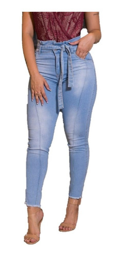 calça feminina clochard jeans lycra revest modela bum bum