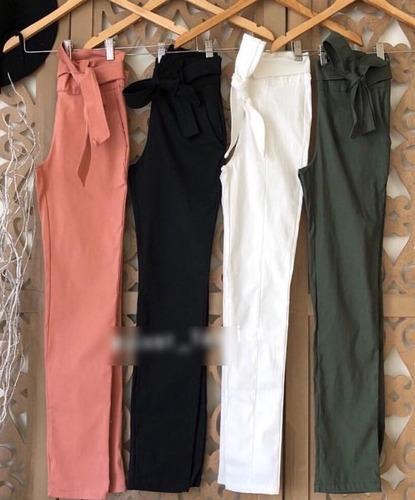 calca feminina confortavel lacinho pantacourt social pmg
