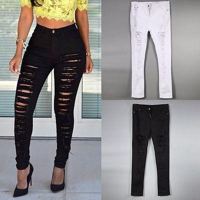 Calu00e7a-feminina-destroy-preta-branca-rasgada-jeans-moda-2017 - R$ 12999 em Mercado Livre