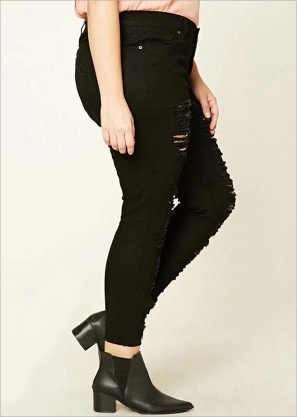 315687f8c7 calça-feminina-destroy-rasgada-jeans-preta-moda-2018. Carregando zoom.