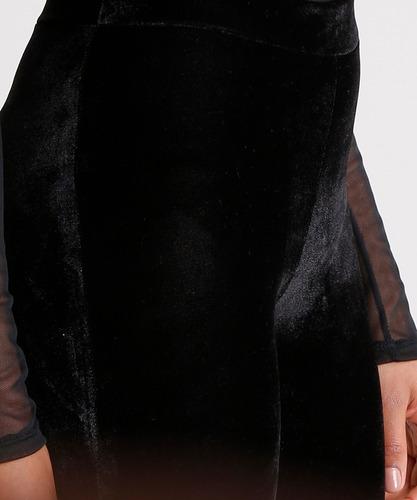 calça feminina flare em veludo preta