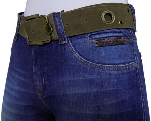 calça feminina flare jeans rasgada desfiada cinto cós alto