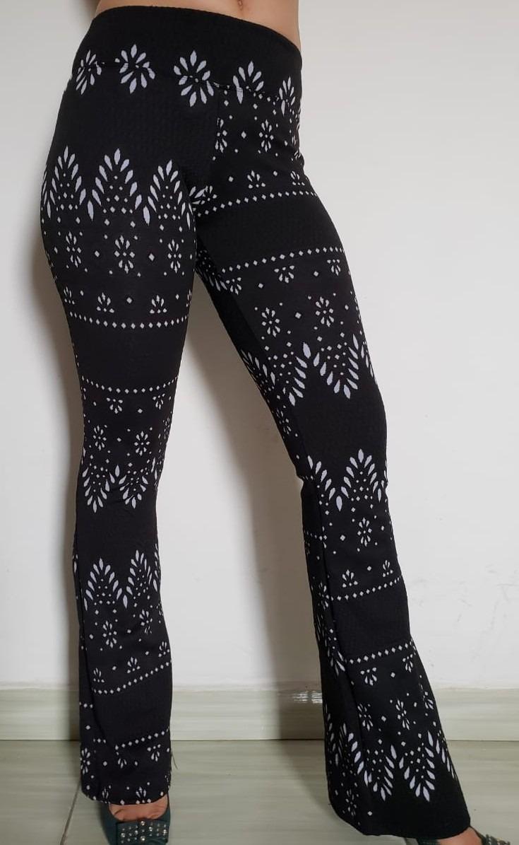 f8d7501e498eb calca feminina flare legging leg cintura alta jacquard. Carregando zoom.