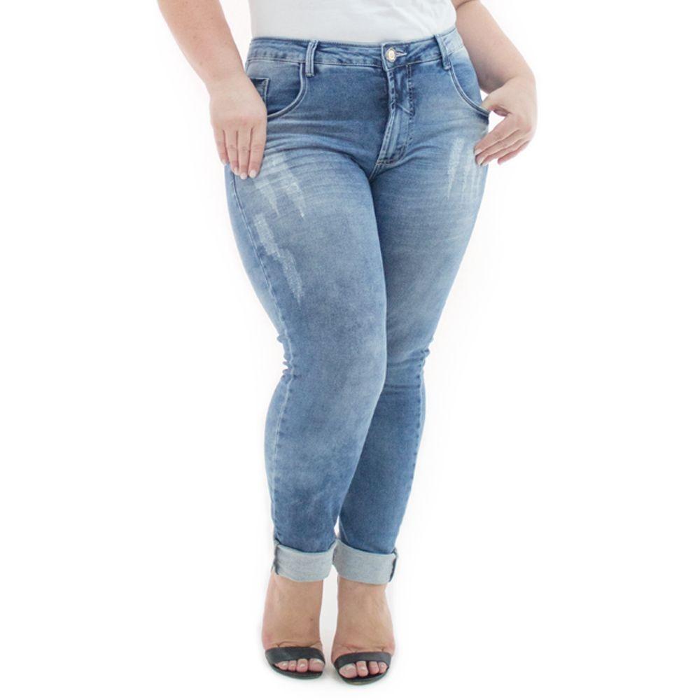 6271bd3b9466 calça feminina jeans cigarrete destroyed plus size crj351. Carregando zoom.