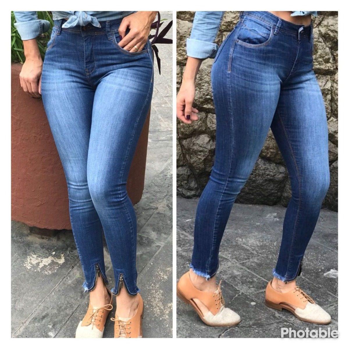 13ee4d3e4 calça feminina jeans cintura alta skinny barra destroyed. Carregando zoom.