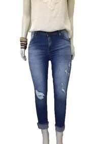 b5d2e4e012 Calca Jeans Feminina Cropped Rasgada Shakira Skinny 7577