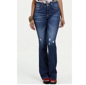 412fc12d6 Calça Jeans Sawary Flare Cintura Média Preta Com Elastano Tamanho 48 ...