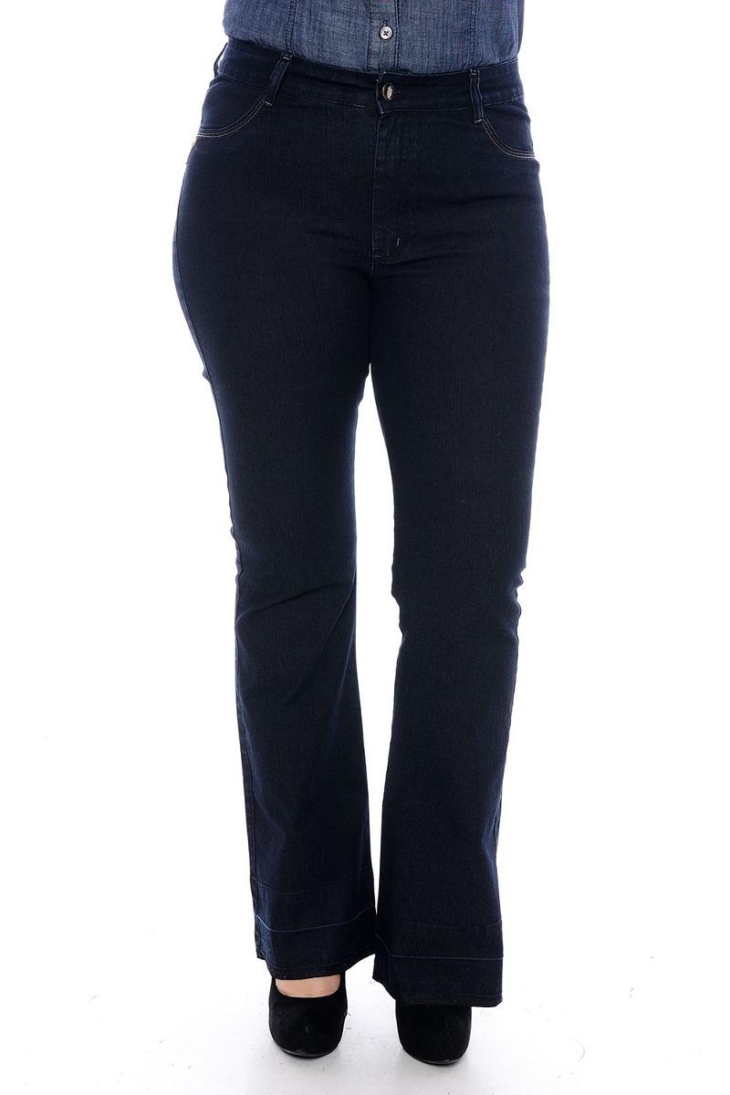 65a7b461967b Calça Feminina Jeans Flare Tamanho Especial - R$ 139,99 em Mercado Livre