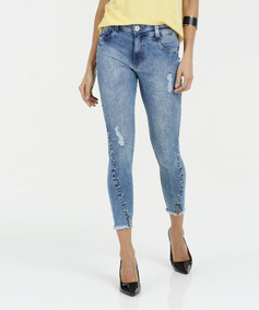 a133f488a Calça Feminina Jeans Pérolas Sintéticas Capri Biotipo Top